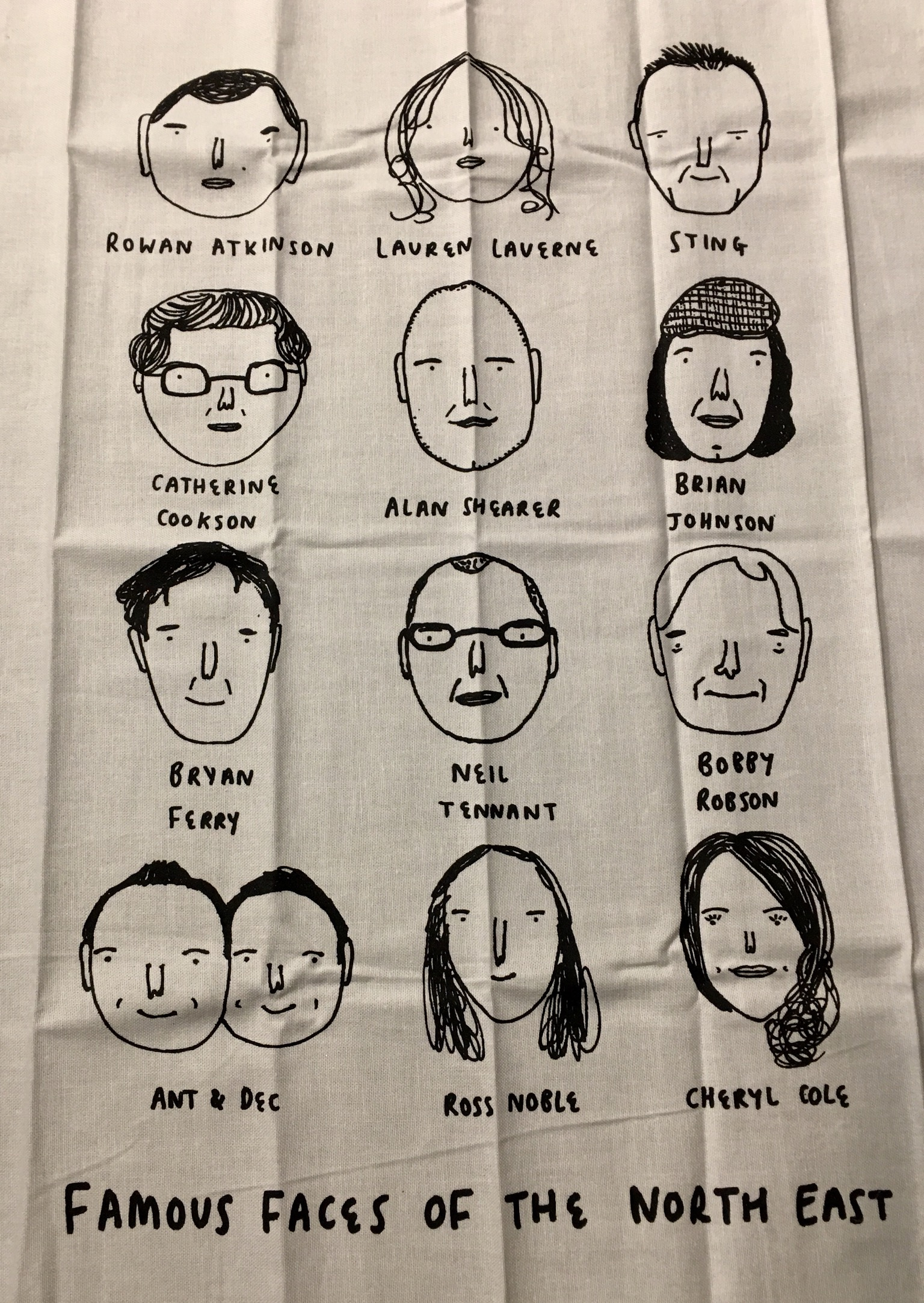 Famous faces tea towel