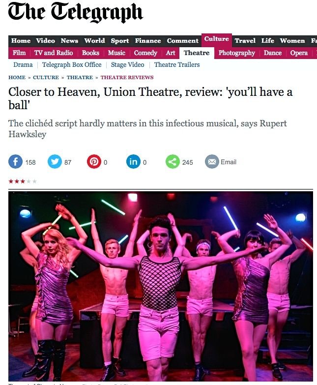 Closer to Heaven, Union Theatre, 2015, review